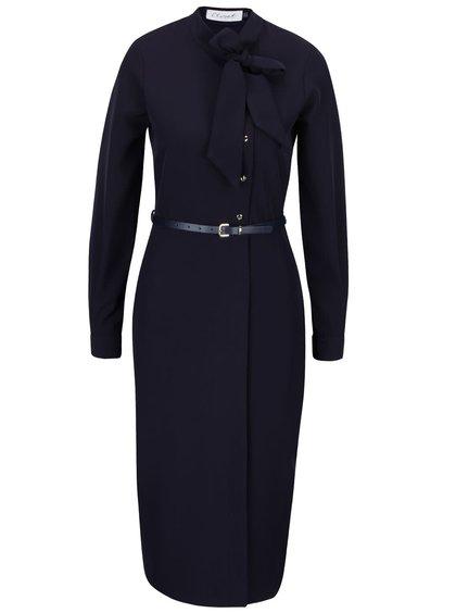 Tmavě modré šaty s mašlí a dlouhým rukávem Closet