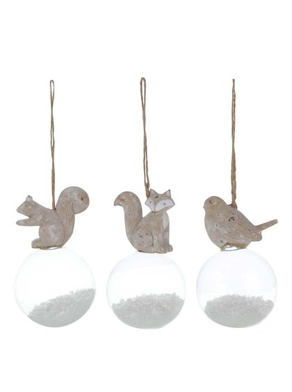 Set de 3 ornamente din lemn Sass & Belle cu globuri de sticlă