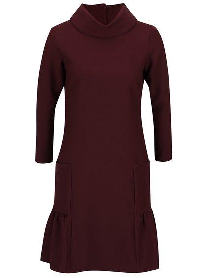 Vínové šaty se stojáčkem a kapsami Closet