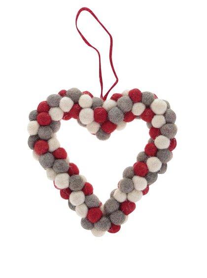 Krémovo-sivo-červené dekoračné srdce z brmbolcov Sass & Belle