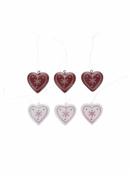 Sada šesti plechových ozdob ve tvaru srdce Sass & Belle