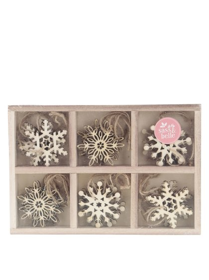 Set 24 decorațiuni din lemn Sass & Belle în formă de fulgi
