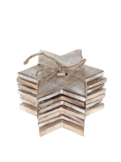 Súprava šiestich hnedých drevených podtácok v tvare hviezdy Sass & Belle