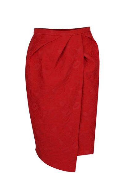 Červená pouzdrová sukně s plastickým vzorem Closet