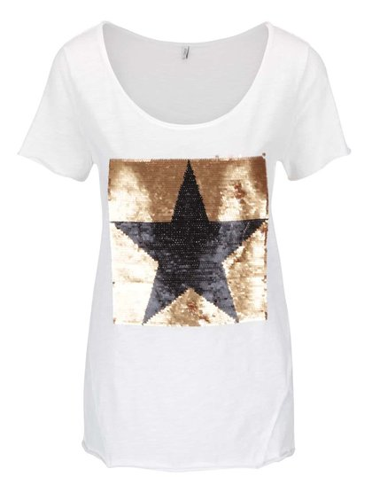 Krémové tričko s flitrovaným motivem hvězdy ONLY Aura