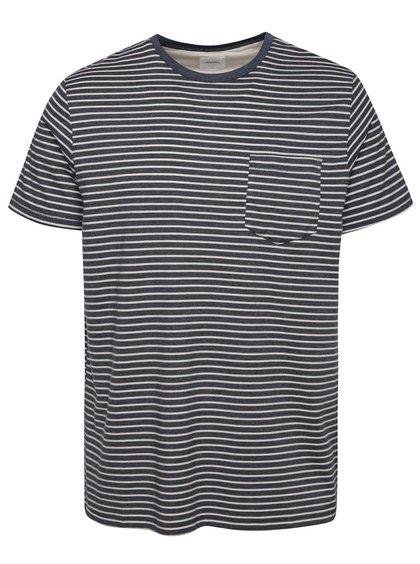 Tmavomodré pruhované tričko s vreckom Burton Menswear London