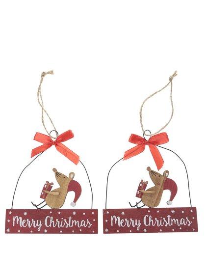 Sada dvou dřevěných závěsných dekorací ve tvaru myšky Sass & Belle