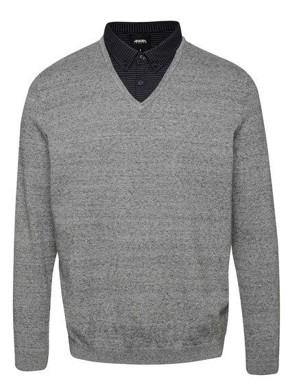 Sivý melírovaný sveter s košeľovým golierom Burton Menswear London