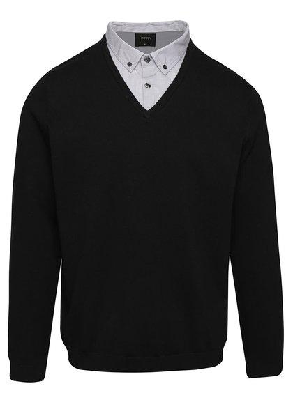 Čierny sveter s košeľovým golierom Burton Menswear London