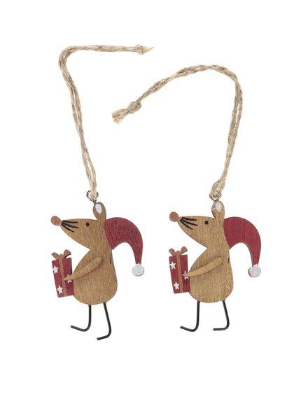 Set 2 ornamente din lemn Sass & Belle în formă de șoareci