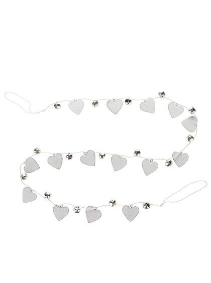 Lănțișor alb Sass & Belle cu inimi și clopoței din metal