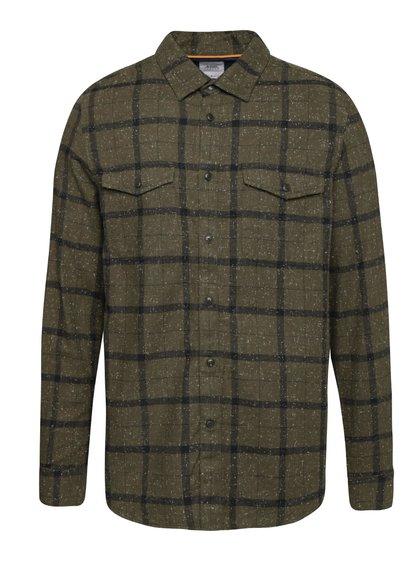 Khaki žíhaná kostkovaná košile Burton Menswear London