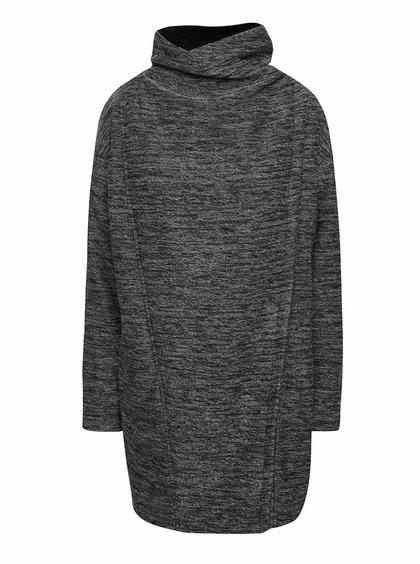 Černo-šedý dámský žíhaný asymetrický kabát Bench Structural
