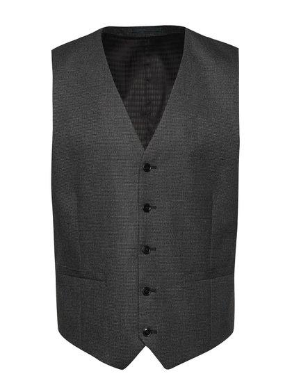 Tmavě šedá vzorovaná obleková vesta Burton Menswear London
