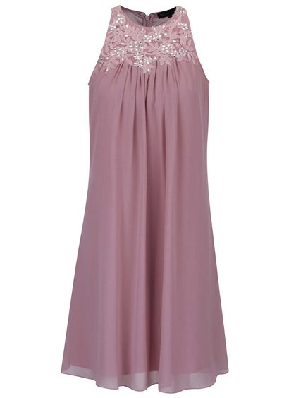 Starorůžové šaty s vyšitými květy a kamínky Dorothy Perkins