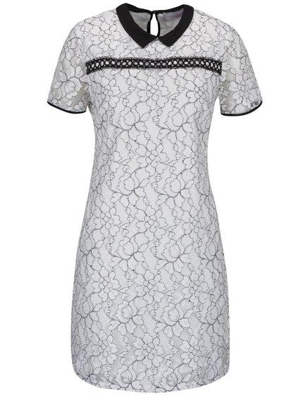 Krémové krajkové šaty s černým límečkem Dorothy Perkins Petite