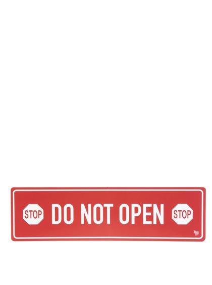 Bílo-červený magnet na lednici Donkey Do Not Open