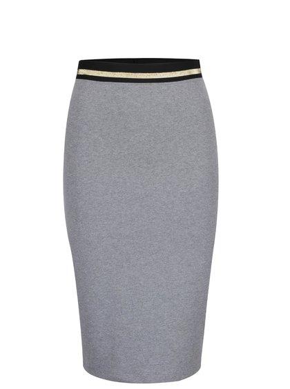 Sivá priliehavá sukňa s pružnou gumou v páse ZOOT