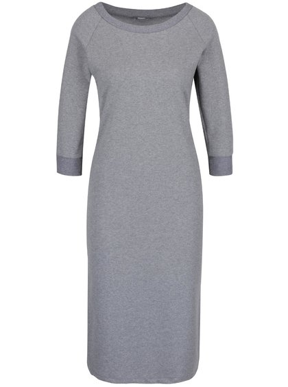 Šedé elastické šaty s 3/4 rukávy a rozparkem ZOOT