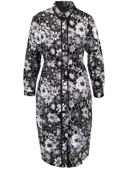 Krémovo-čierne tehotenské kvetinové prepínacie šaty Dorothy Perkins Maternity