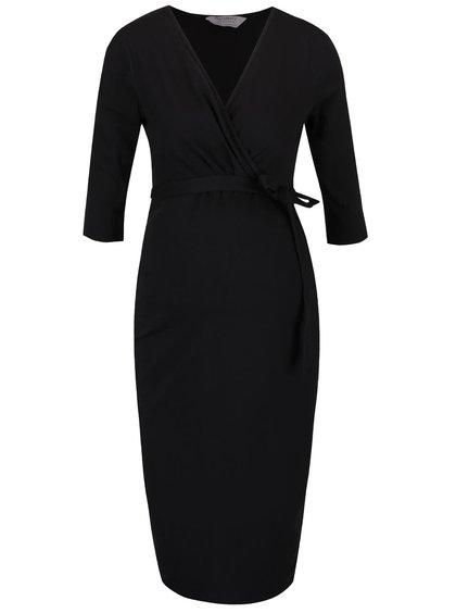 Čierne tehotenské šaty s prekladaným výstrihom Dorothy Perkins Maternity