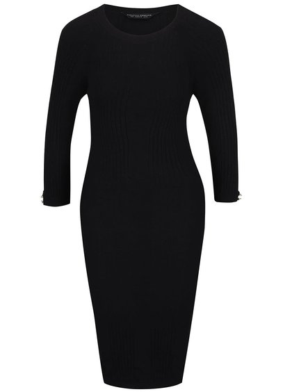 Černé žebrované svetrové šaty s dlouhým rukávem Dorothy Perkins