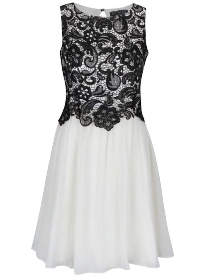 Krémové šifonové šaty s černým krajkovým topem Dorothy Perkins
