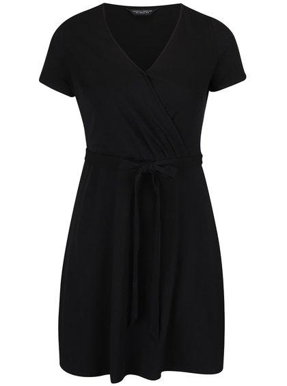 Čierne šaty s prekladaným výstrihom Dorothy Perkins Curve