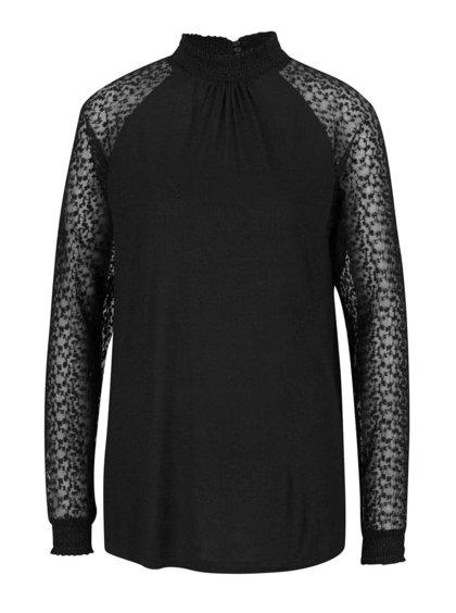 Černá halenka se stojáčkem a průsvitnými dlouhými rukávy Vero Moda Luna