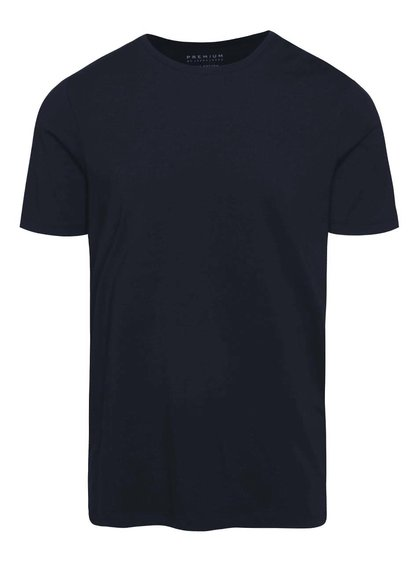 Tmavomodré basic tričko s krátkym rukávom Jack & Jones Pima