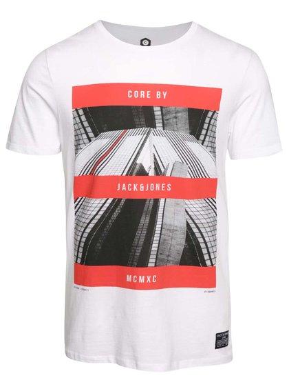 Bílé triko s červeným potiskem Jack & Jones Zen