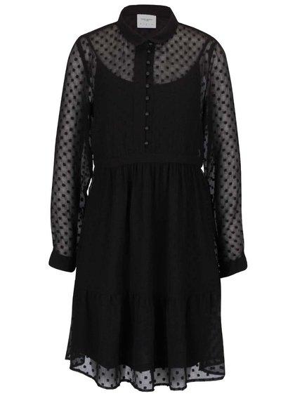 Čierne voľnejšie priesvitné šaty s gombíkmi a spodničkou Vero Moda Lucy