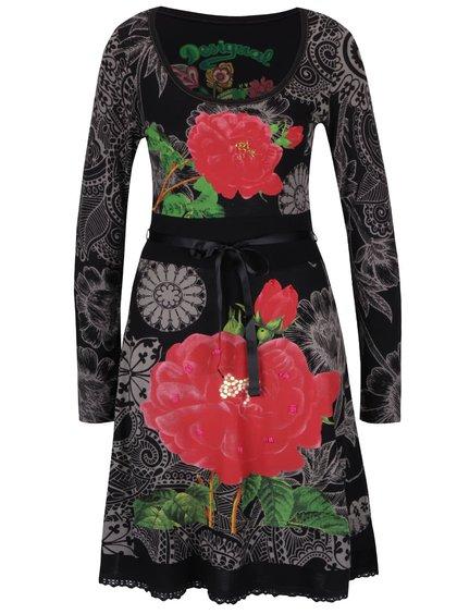 Černé šaty s potiskem červených a šedých květů Desigual Robert