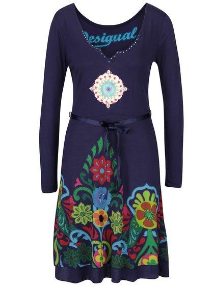 Tmavě modré šaty s potiskem a kamínky Desigual Yakara