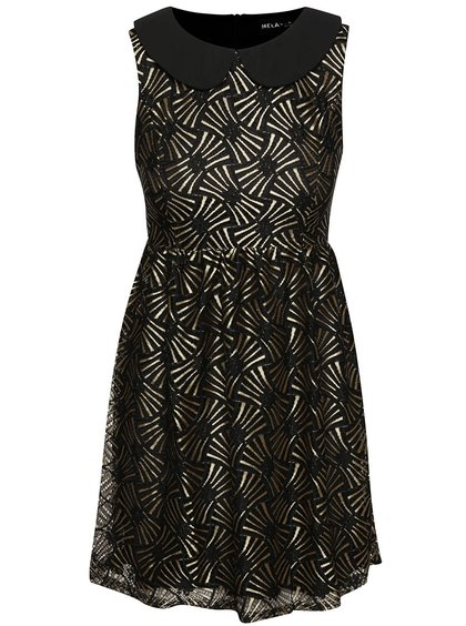 Rochie neagră Mela London cu detalii aurii