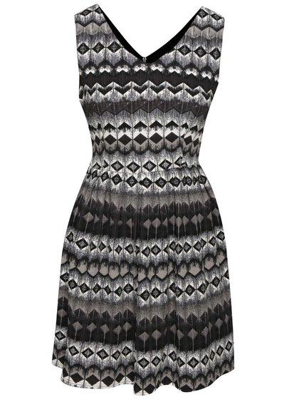 Šedo-černé vzorované šaty Mela London
