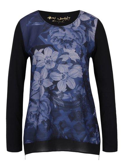 Černé tričko s modrým potiskem a s rozparky na zip Desigual Marino
