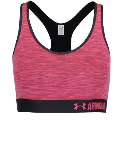 Bustier sport negru cu roz Under Armour Mid Space Dye