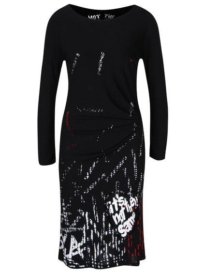 Černé šaty s potiskem Desigual Castalia