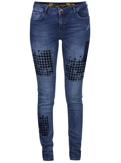 Tmavě modré džíny se vzorem Desigual Dina