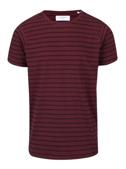 Vínové pruhované tričko s krátkym rukávom Lindbergh