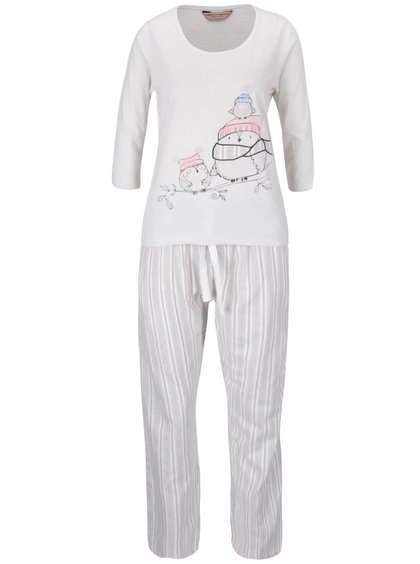 Růžovo-krémové pyžamo s potiskem sov Dorothy Perkins