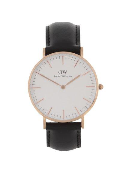 Černé dámské hodinky s koženým páskem CLASSIC Sheffield Daniel Wellington