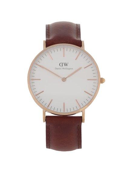 Hnedé dámské hodinky s koženým páskem CLASSIC St. Mawes Daniel Wellington