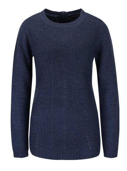 Tmavě modrý pletený svetr delšího střihu Dorothy Perkins