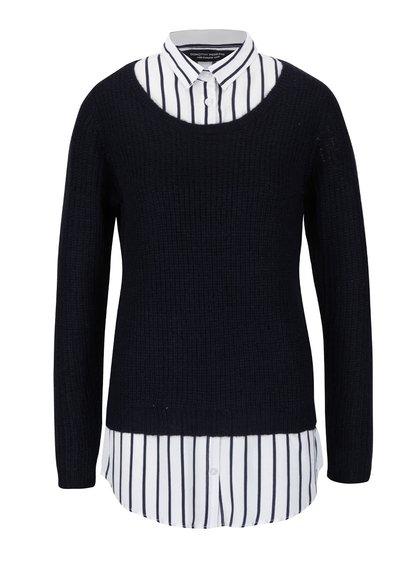 Tmavě modrý svetr s pruhovanou košilí 2v1 Dorothy Perkins