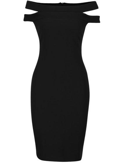 Čierne šaty s prestrihmi na ramenách Goddivva
