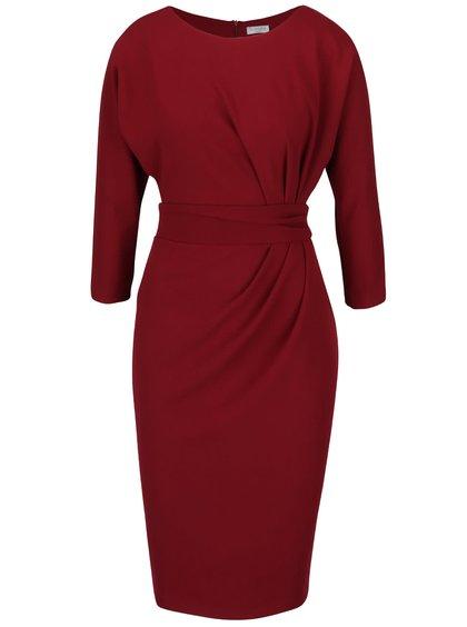Vínové šaty s nařaseným pasem Goddiva