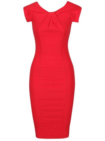 Červené šaty se skládaným výstřihem Goddiva