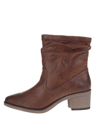 Hnědé kotníkové koženkové boty na podpatku Dorothy Perkins